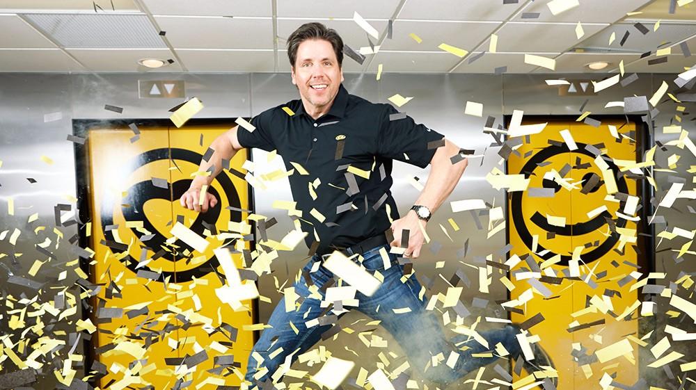 Business owner enjoys confetti cannon company headquarters