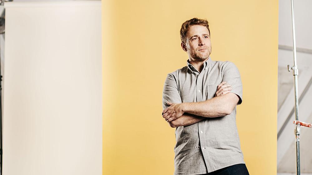 Slack CEO Stewart Butterfield posing for photoshoot