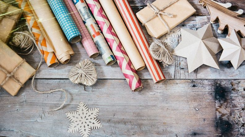 Christmas decoration on the wooden vintage background.