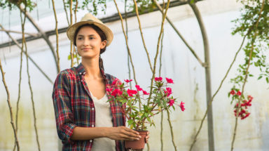 Woman in greenhouse holding flowers