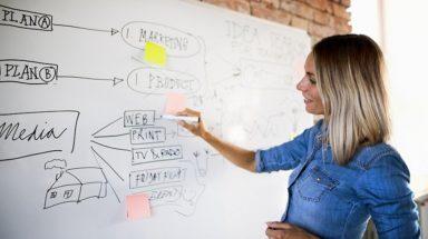 Businesswoman working on marketing plan