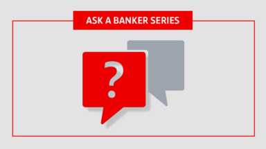 "Red and grey talking bubble icons with ""Ask a Banker series"" at top"